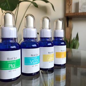カクテルイオン導入に使用する、プラセンタ、ビタミンC、カルノシン、EG